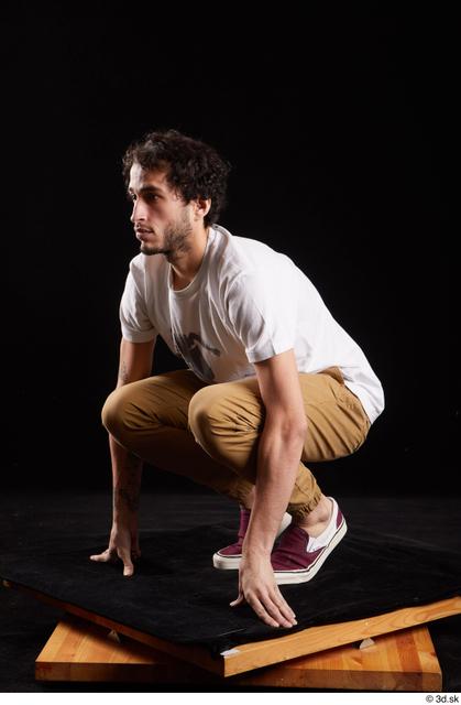 Whole Body Man White Shirt Trousers Slim Kneeling Studio photo references
