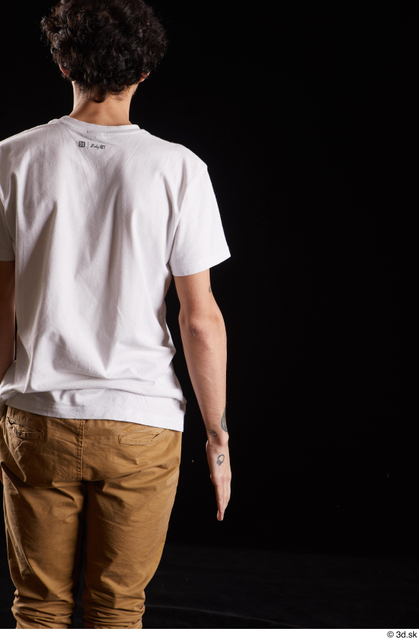 Arm Back Man White Shirt Slim Studio photo references