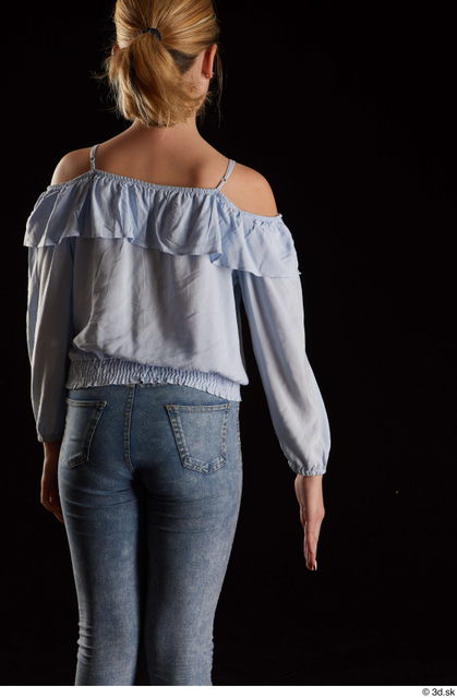 Arm Back Woman White Blouse Slim Studio photo references