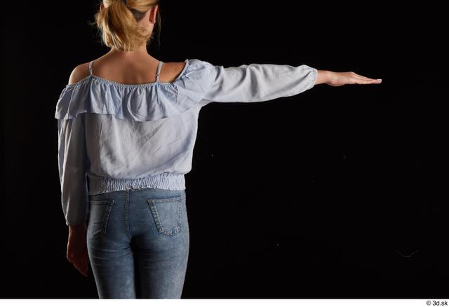 Arm Back Woman White Blouse Slim Studio photo references