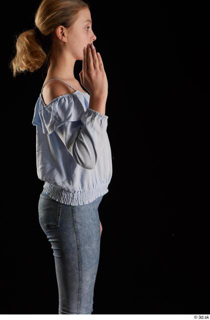 Arm Woman White Blouse Slim Studio photo references