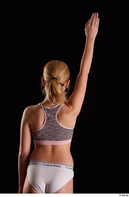 Arm Back Woman White Nude Underwear Slim Studio photo references