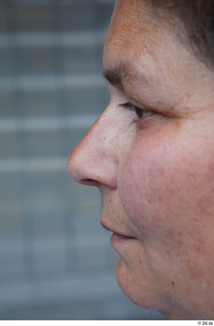 Nose Woman White Casual Chubby Street photo references