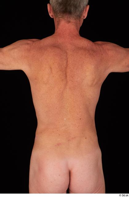 Upper Body Back Man White Nude Average Studio photo references