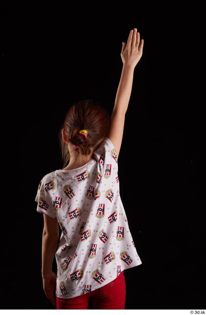 Arm Back Woman White Shirt T shirt Slim Studio photo references