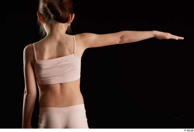 Arm Back Woman White Underwear Slim Studio photo references