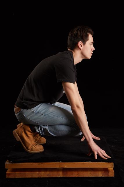 Whole Body Man White Slim Kneeling Studio photo references