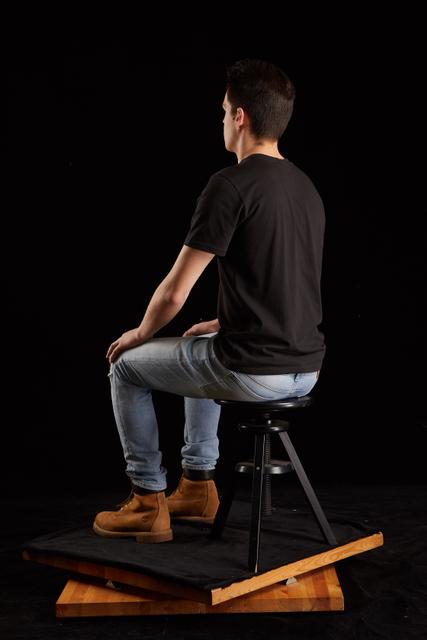 Whole Body Man White Slim Sitting Studio photo references