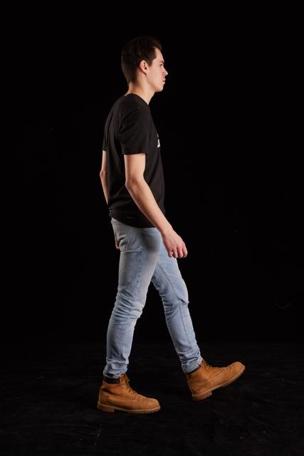 Whole Body Man White Slim Walking Studio photo references