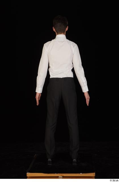 Whole Body Man White Uniform Shoes Shirt Trousers Slim Standing Studio photo references
