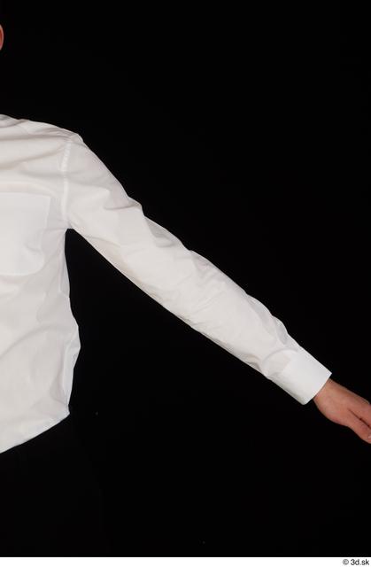 Arm Upper Body Man White Uniform Shirt Slim Studio photo references