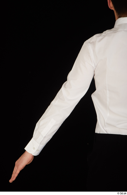 Arm Upper Body Man White Uniform Shirt Slim Studio photo references
