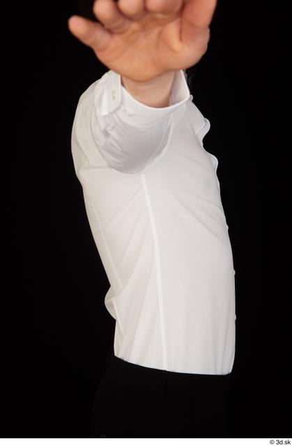 Upper Body Man White Uniform Shirt Slim Studio photo references