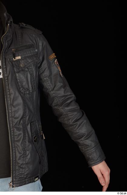 Arm Upper Body Man White Jacket Slim Studio photo references