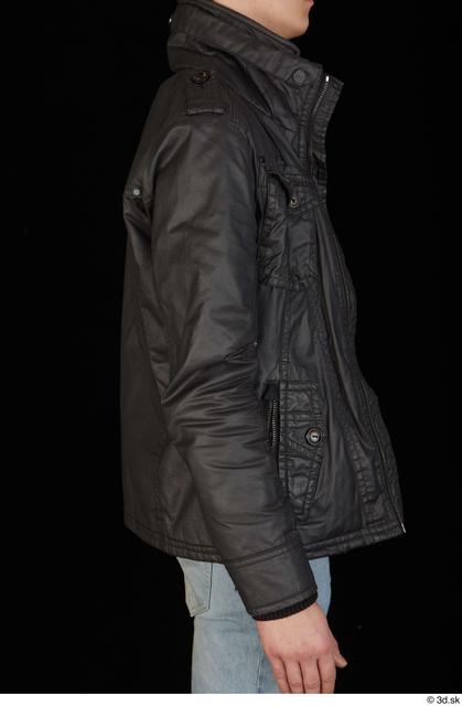 Upper Body Man White Jacket Slim Studio photo references