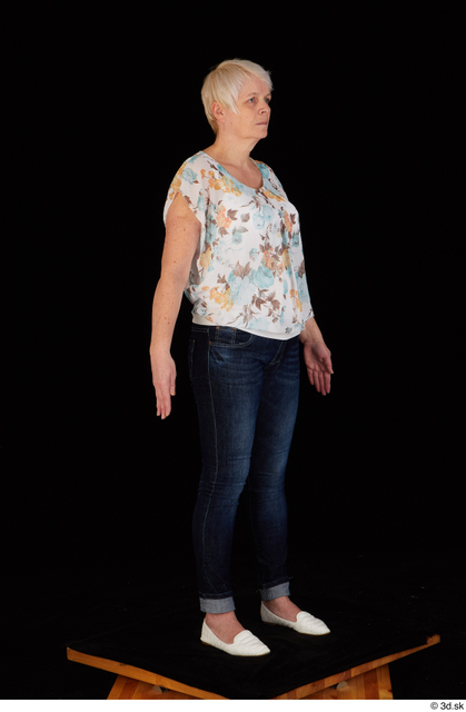 Whole Body Woman White Shoes Jeans Chubby Standing Top Studio photo references