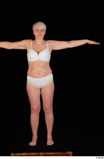Whole Body Woman White Underwear Bra Chubby Standing Panties Studio photo references