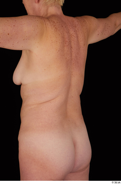 Upper Body Back Woman White Nude Chubby Studio photo references