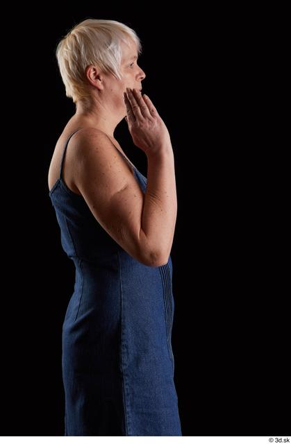 Arm Woman White Jeans Dress Chubby Studio photo references