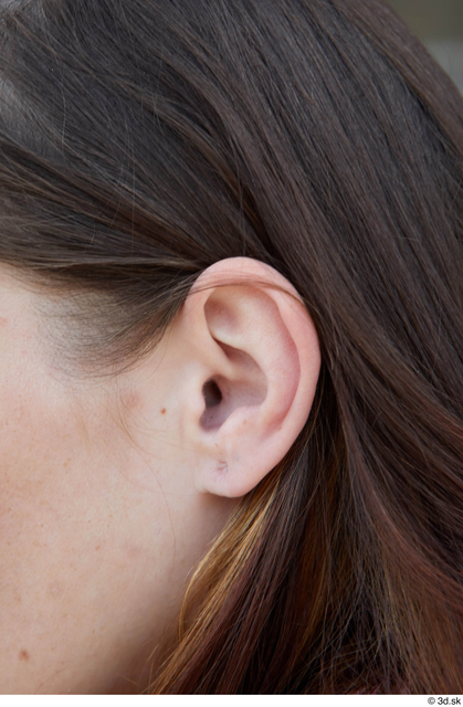 Ear Woman White Casual Average Street photo references