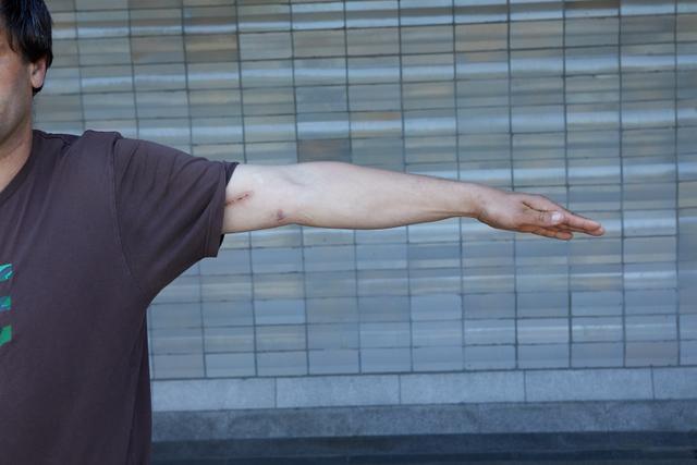 Arm Man White Casual Average Street photo references