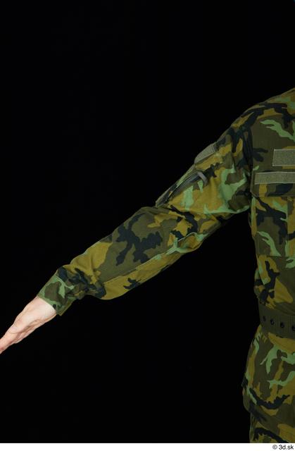Arm Upper Body Man White Army Belt Jacket Average Studio photo references