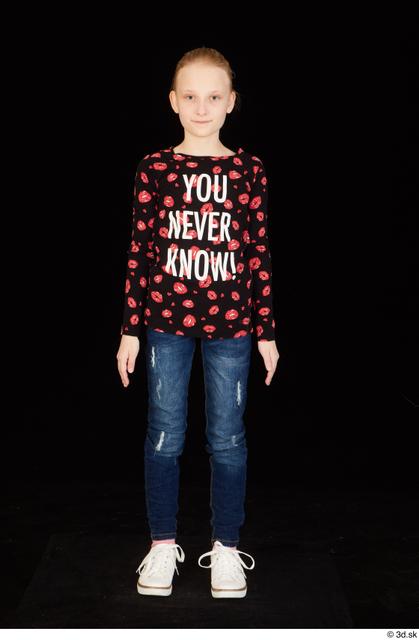 Whole Body Woman White Shirt Jeans Slim Standing Studio photo references