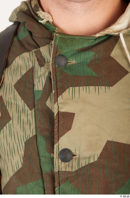 Upper Body Man White Army Uniform Jacket Average Clothes photo references