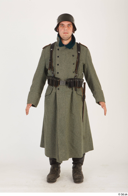 and more Whole Body Man White Army Uniform Helmet Coat Average Standing Costume photo references