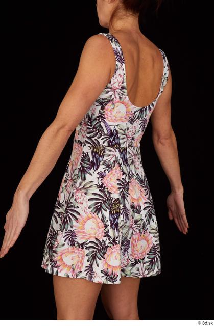 Upper Body Woman White Casual Dress Slim Pregnant Studio photo references