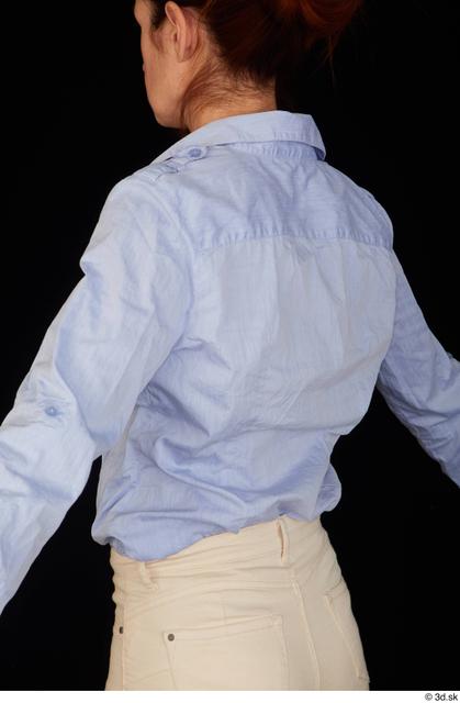 Upper Body Woman White Casual Shirt Slim Pregnant Studio photo references