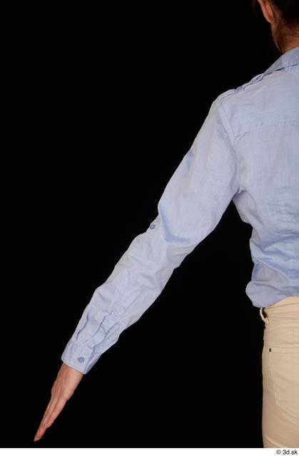 Arm Upper Body Woman White Casual Shirt Slim Pregnant Studio photo references