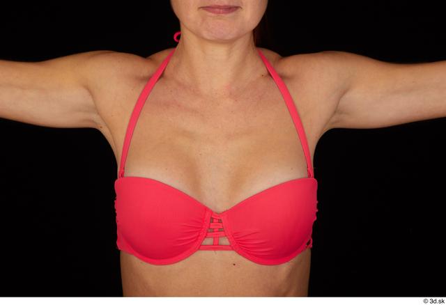 Breast Woman White Swimsuit Bra Slim Pregnant Studio photo references