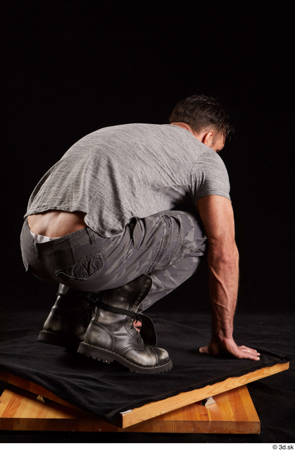 Whole Body Man White Shoes Shirt Trousers Muscular Kneeling Studio photo references