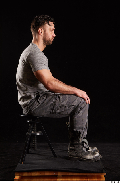Whole Body Man White Shoes Shirt Trousers Muscular Sitting Studio photo references