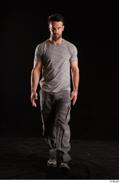 Whole Body Man White Shoes Shirt Trousers Muscular Walking Studio photo references