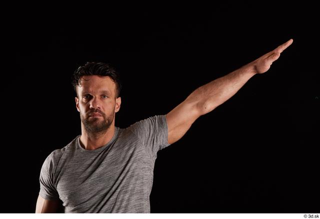 Arm Man White Shirt Muscular Studio photo references