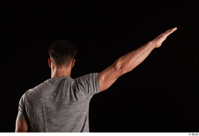 Arm Back Man White Shirt Muscular Studio photo references