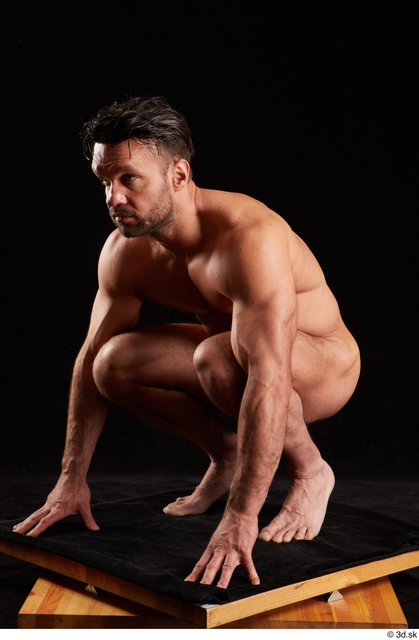 Whole Body Man White Nude Muscular Kneeling Studio photo references