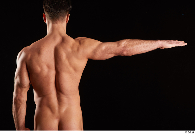 Arm Back Man White Nude Muscular Studio photo references