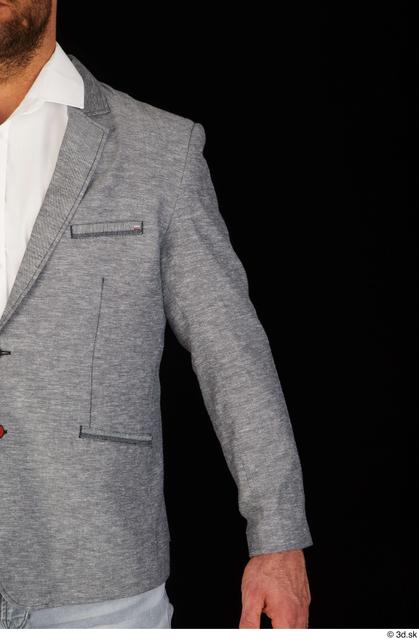 Arm Upper Body Man White Jacket Muscular Studio photo references