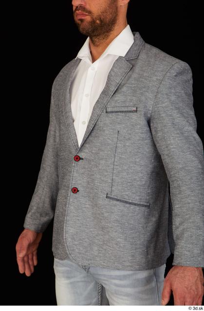 Upper Body Man White Jacket Muscular Studio photo references