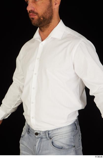 Upper Body Man White Shirt Muscular Studio photo references