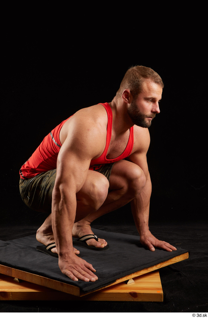 Whole Body Man White Shorts Muscular Kneeling Top Studio photo references