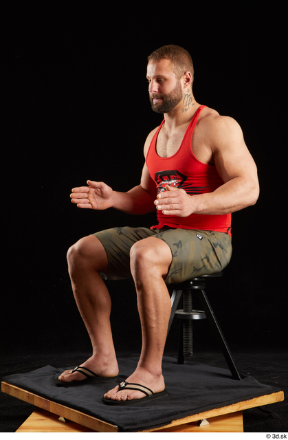 Whole Body Man White Shorts Muscular Sitting Top Studio photo references