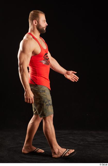 Whole Body Man White Shorts Muscular Walking Top Studio photo references