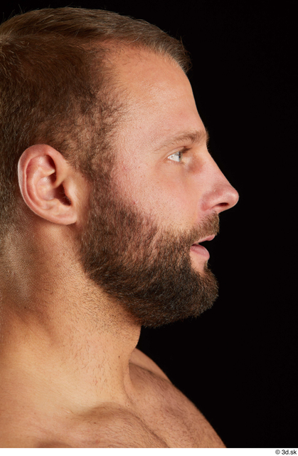 Head Man White Muscular Bearded Studio photo references