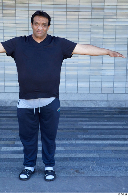 Whole Body Man T poses White Sports Overweight Standing Street photo references