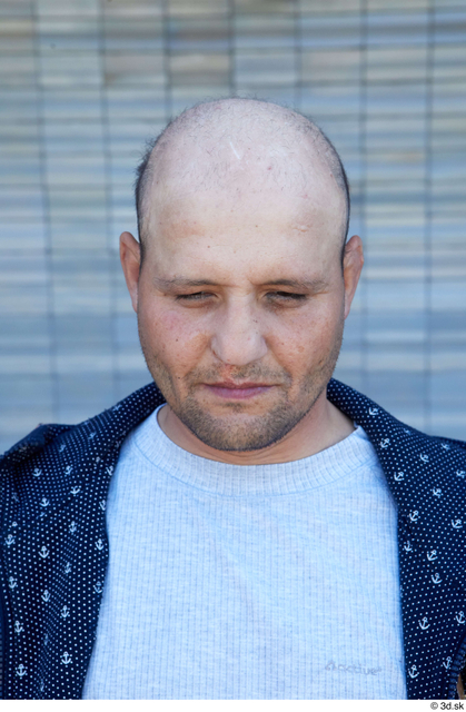 Man White Casual Chubby Bald Street photo references