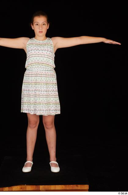 Whole Body Woman T poses White Dress Average Standing Studio photo references